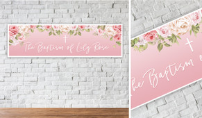 Pink Roses Personalised Christening Banner