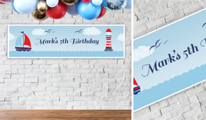 Boats At Sea Personalised Birthday Banner