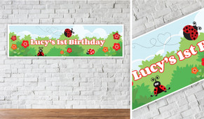 Lady Bugs Personalised Birthday Party Banner