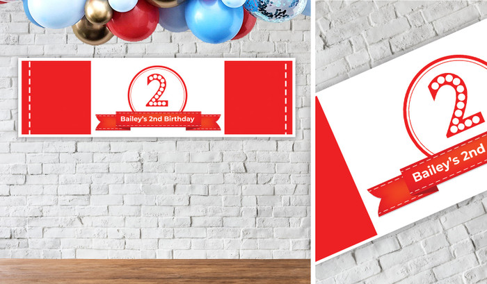 Numbers In Red Personalised Birthday Banner