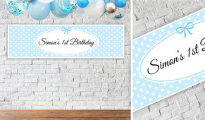 Polkadots In Blue Personalised Birthday Banner