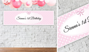 Polkadots In Pink Personalised Birthday Banner