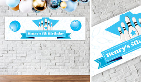 Ten Pin Bowling In Blue Personalised Birthday Banner