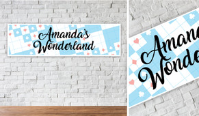 Alice In Wonderland Personalised Birthday Banner