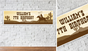 Cowboy Personalised Birthday Party Banner