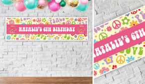 60's Hippy Personalised Birthday Banner