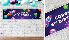 Outerspace Personalised Birthday Party Banner