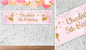 Golden Ballerina Personalised Birthday Party Banner