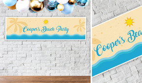 Beach Party Personalised Birthday Party Banner