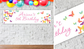 Butterflies Personalised Birthday Party Banner