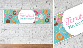 Donut Party Personalised Birthday Banner