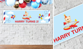 Bear Air Plane Personalised Birthday Banner