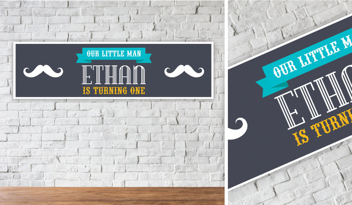 Little Moustache Personalised Birthday Banner