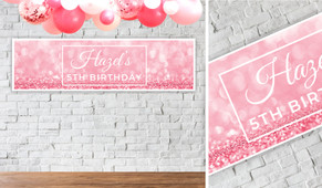Pink Glitter Personalised Birthday Party Banner
