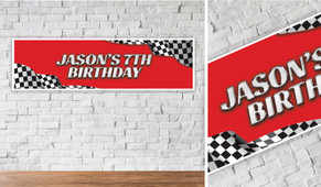 Racing Car Personalised Birthday Party Banner