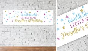 Twinkle Star 1st Birthday Personalised Birthday Banner