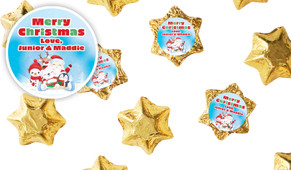 Cute Friends Personalised Christmas Chocolate Stars
