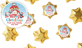 Christmas Puppies Personalised Chocolate Stars
