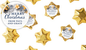 Navy Gold Gifts Personalised Chocolate Stars