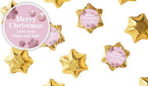 Pink Christmas Personalised Chocolate Stars