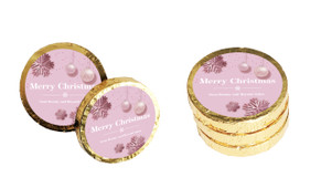Pink Christmas Christmas Chocolate Coins (Gold Or Silver)