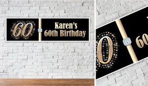 Golden Number Personalised Birthday Party Banner (Any Number)