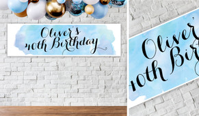 A Splash Of Watercolour Blue Personalised Birthday Party Banner