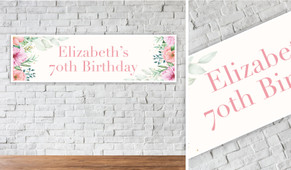 Beautiful Blooms Personalised Birthday Party Banner