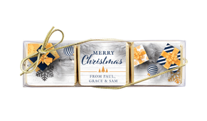 Navy Gold Gifts Christmas Mini Chocolate Trio Favour