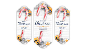 Navy Gold Gifts Christmas Personalised Candy Cane Card