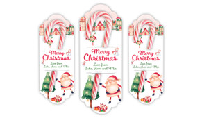 Christmas Village  Personalised Candy Cane Card