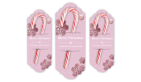 Pink Theme Christmas Personalised Candy Cane Card
