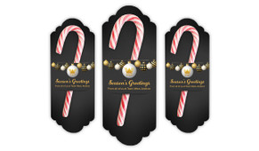 Luxury Black Christmas Personalised Candy Cane Card