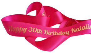 Hot Pink With Gold Text Personalised Ribbon (38mm x 2m)