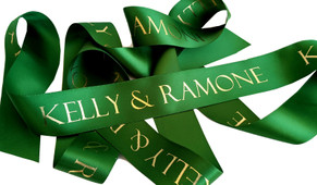 Dark Green With Gold Text Personalised Ribbon (38mm x 2m)