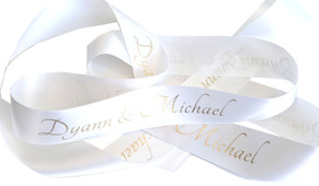 White With Gold Text Personalised Ribbon (38mm x 2m)