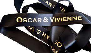Black With Gold Text Personalised Ribbon (38mm x 2m)