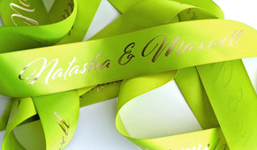 Lime Green With Gold Text Personalised Ribbon (38mm x 2m)