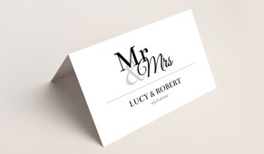Rear of Mr & Mrs Announcement Wedding Place Cards With Guest Names