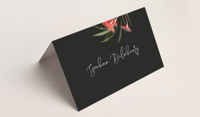 Front of Wild Flowers Dark Wedding Place Cards With Guest Names