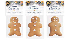 Navy Gold Gifts Christmas Gingerbread Man With Topper