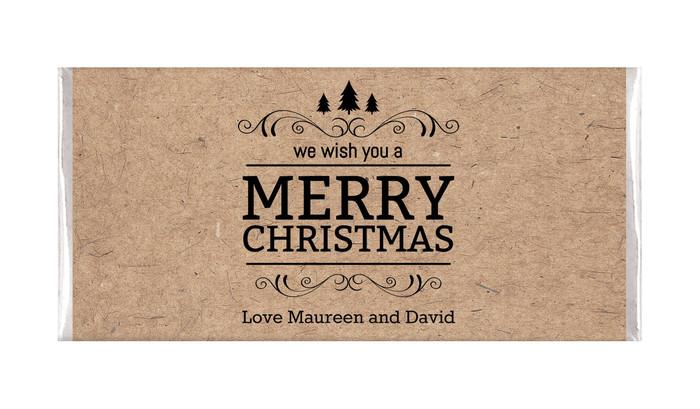 Merry Christmas On Kraft Christmas Chocolates