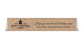 Merry Christmas On Kraft Personalised Toblerone Chocolates