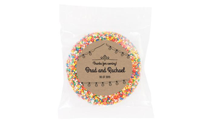 Bunting On Kraft Personalised Wedding Chocolate Freckle