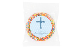 Religious Blue Christening Chocolate Freckle