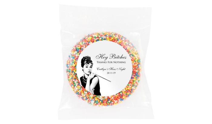 Audrey Hepburn Personalised Hens Night Chocolate Freckle