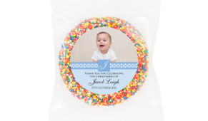 Initial In Blue Personalised Christening Chocolate Freckle