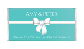 Turquoise Blue Bow Engagement Personalised Chocolate Bar