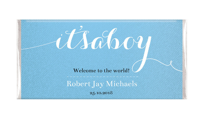 Flowing It's A Boy Blue Personalised Chocolate Bar
