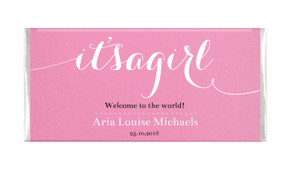 Flowing It's A Girl Pink Personalised Chocolate Bar